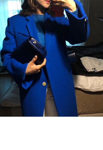 Premium cobalt blue wool 90-coat
